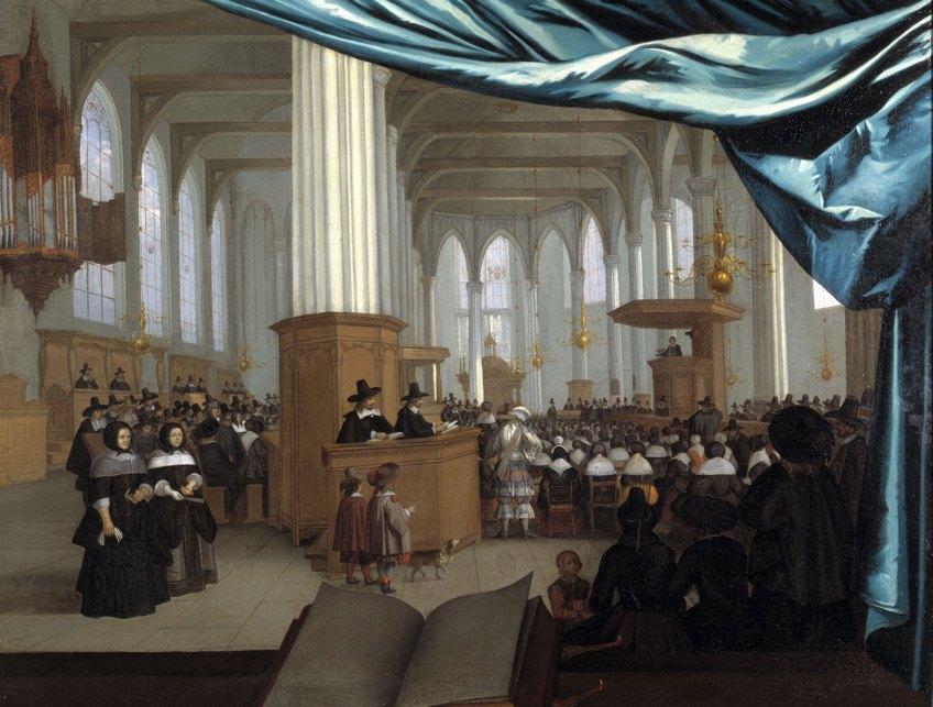 . Interieur van de Nieuwezijdskapel te Amsterdam tijdens kerkdienst, Hans Jurriaensz van Baden, ca. 1658, olieverf op doek, Utrecht, Museum Catharijneconvent, foto Ruben de Heer
