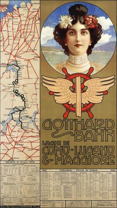 Affiche Gotthardbahn, Gabriele Chiattone, 1904
