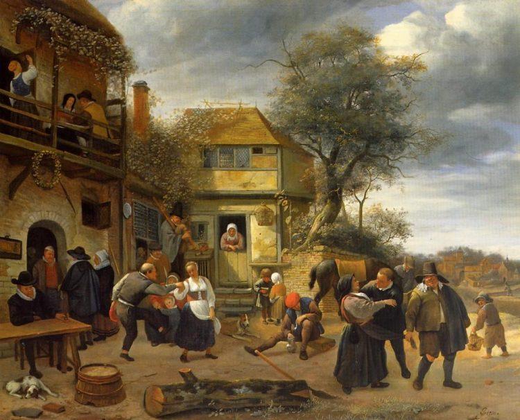 Dansende boeren voor een herberg, Mauritshuis, 1653