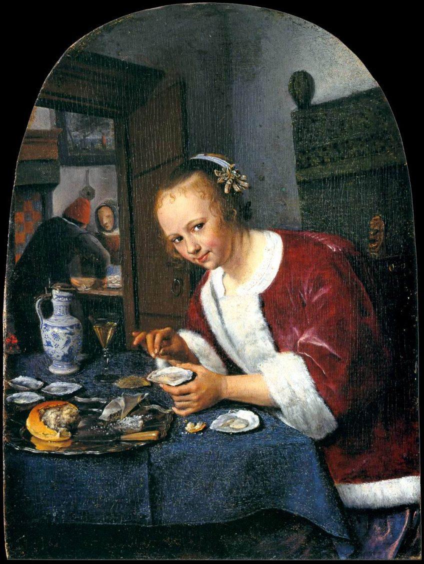Het oestereetstertje, met zijn vrouw Grietje van Goyen, Mauritshuis, Den Haag