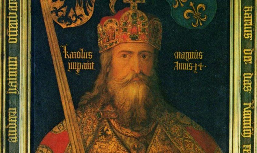 Ideaalbeeld van Karel de Grote met kort na zijn dood gemaakte delen van de keizerlijke regalia, in 1513 door Albrecht Dürer geschilderd in opdracht van zijn vaderstad Nürnberg. (wiki)
