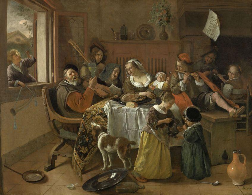 Het vrolijke huisgezin Jan Havicksz. Steen, 1668