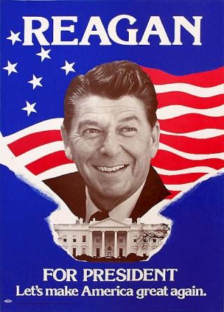 Verkiezingsposter van Ronald Reagan uit 1980 waarbij hij de slogan 'Make America Great Again' lanceerde