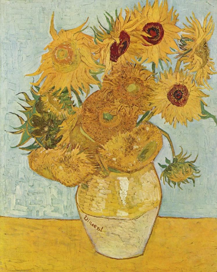 Vaas met twaalf zonnebloemen (Arles, augustus 1888). Neue Pinakothek, München, Duitsland