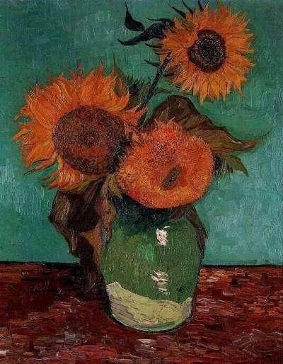 Vaas met drie zonnebloemen (Arles, augustus 1888). Privécollectie, Verenigde Staten