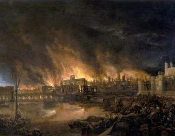 'The Great Fire of London', onbekende schilder, 17e eeuw. Rechts The Tower, die niet door het vuur werd getroffen.