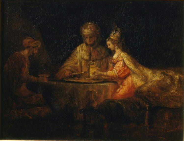 Ahasveros en Haman aan het feestmaal van Esther, door Rembrandt