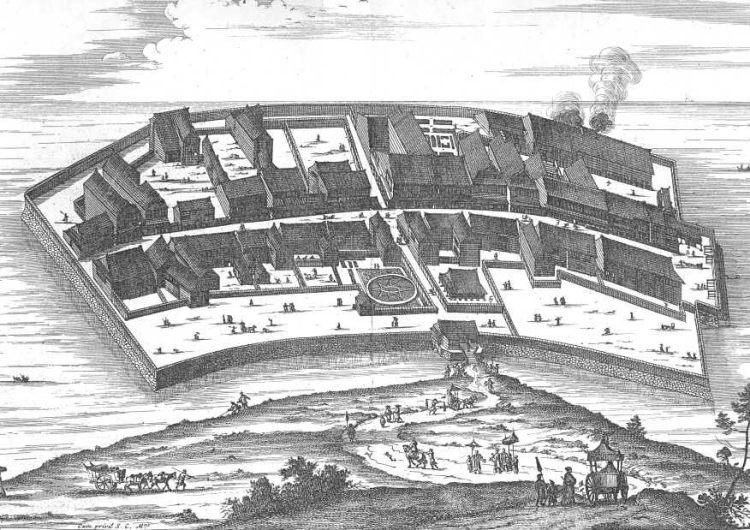 Deshima in het midden van de zeventiende eeuw. Uit: Arnoldus Montanus, 'Gedenkwaerdige Gesantschappen' (1669)