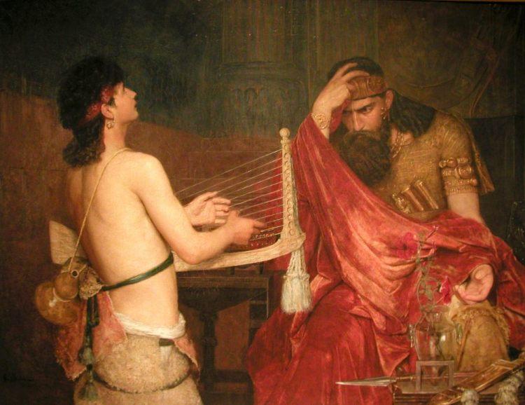 Ernst Josephson, David en Saul (1878). Nationalmuseum Stockholm. David speelt harp voor Saul. Deze scene is een voorbeeld van wat in moderne tijden als muziektherapie werd bestempeld. Saul werd geregeld 'bezocht door kwaadaardige geesten'. Om die te laten verdwijnen deed hij beroep op David, een telg uit de stam van Juda. (Bron: Wikipedia)
