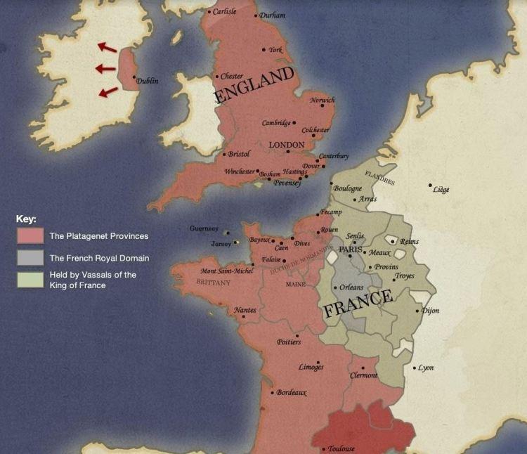 Het Anglo-Normandische rijk op haar hoogtepunt tijdens de 12de eeuw onder de heerschappij van de dynastie van de Plantagenets (normanconnections.com)