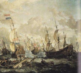The Four Days Fight. Schilderij van Abraham Storck met rechts de gestrande Engelse Royal Prince en links De Zeven Provinciën van Michiel de Ruyter. (National Maritime Museum, Greenwich)