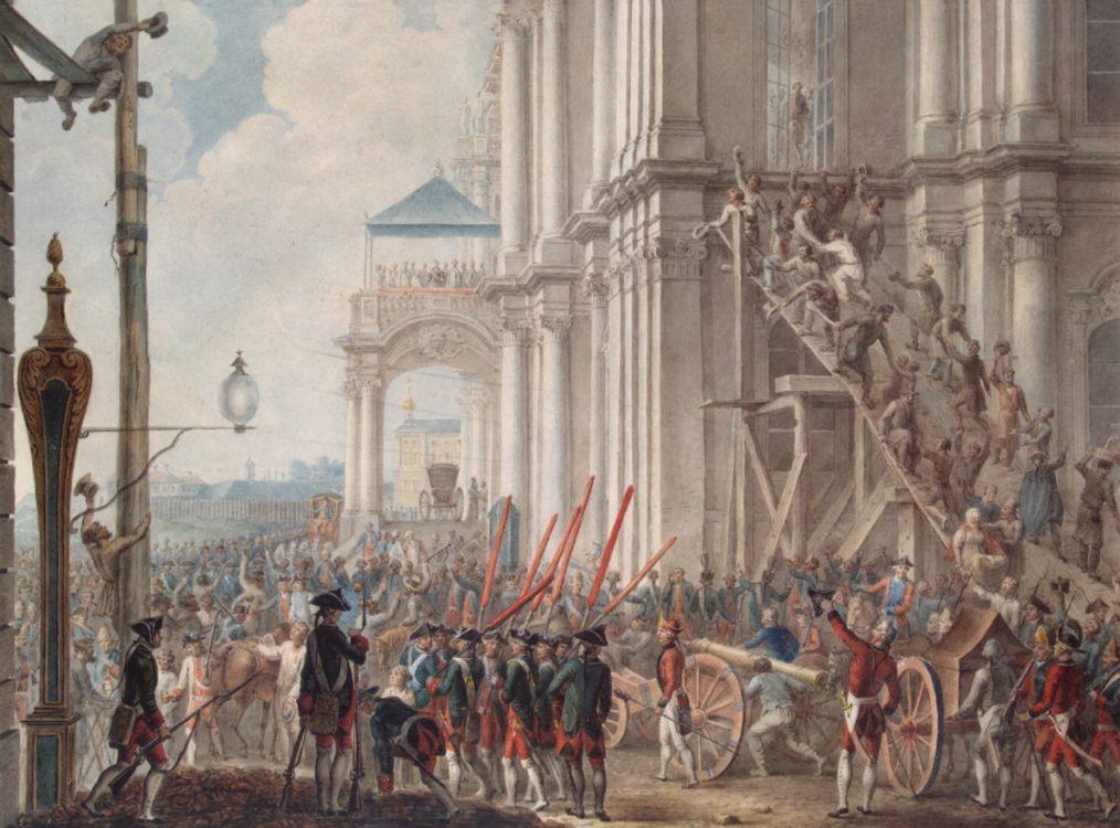 Catherina II op het balkon van het Winterpaleis; op 28 juni 1762, de dag van de coup