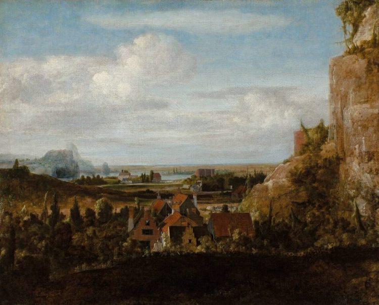 Hercules Segers - Rivierdal met huizen. Ca. 1625. Rotterdam, Museum Boijmans Van Beuningen