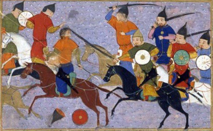 Gevecht tussen Mongoolse en Chinese ruiters