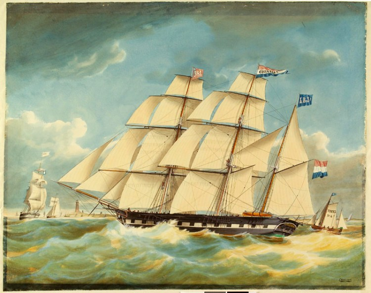 Het barkschip Cornelia en loodsboot Texel No. 4 op de rede van Texel. (1856)