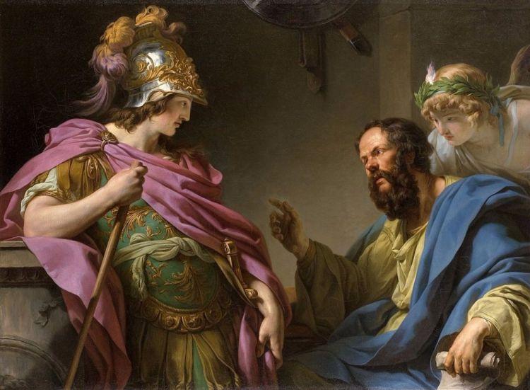Socrates onderwijst de Atheense politicus Alcibiades (François-André Vincent)