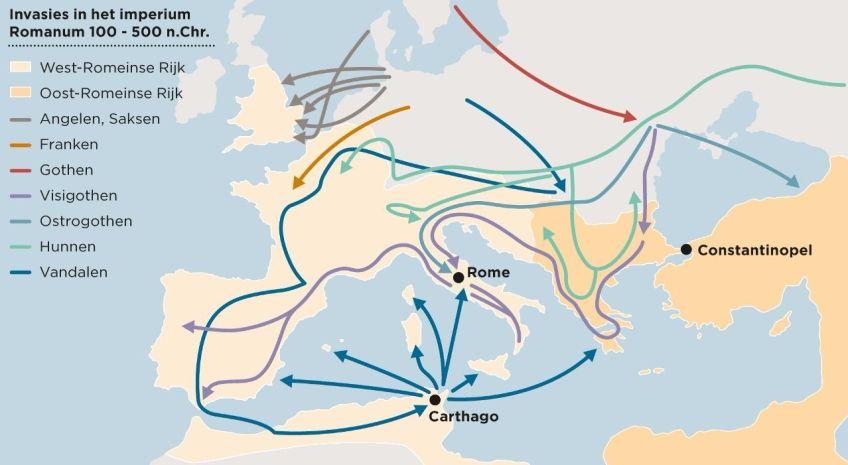 Afbeelding van de voornaamste invasies in het Romeinse Rijk vanaf 100 n.C. tot 500 n.C. (Bron: https://fd.nl/economie-politiek/1123359/migratie-is-de-motor-van-de-geschiedenis, 2015)