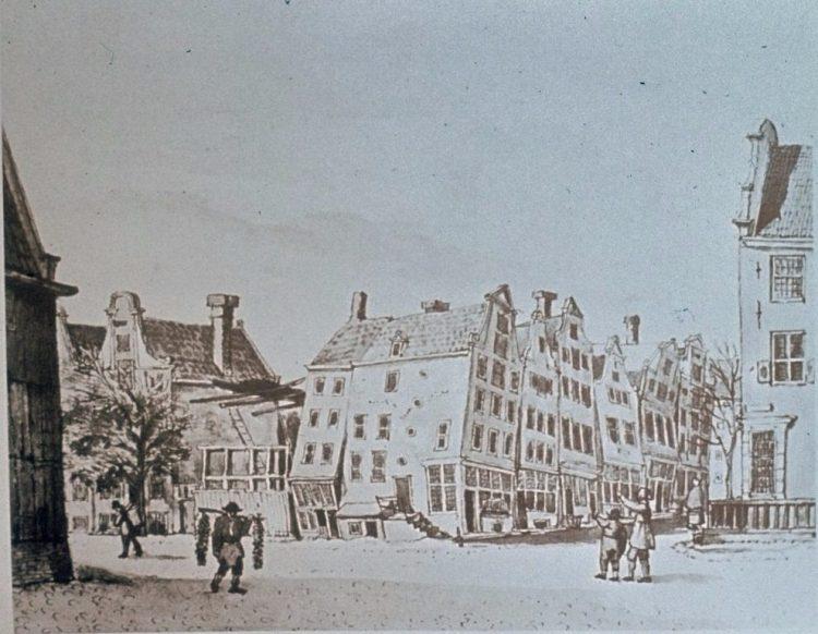 G. Lamberts, Verzakte huizen Leidsche plein, 1815