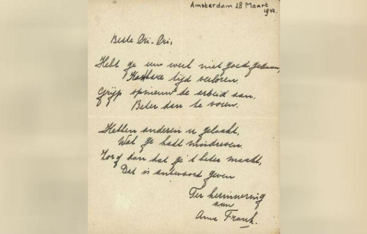 Handgeschreven gedichtje Anne Frank onder de hamer (Bubb Kuyper)