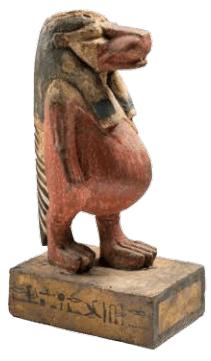 Houten beeld van de godin Taweret uit Deir el-Medina, beschermgodin van zwangerschap, kinderen en vruchtbaarheid, 40 cm hoog (Museo Egizio, Turijn).