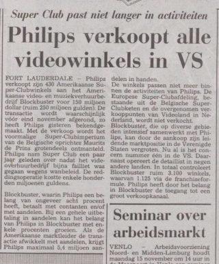 Krantenbericht over de afstoting van de Amerikaanse winkels (Limburgsch Dagblad, oktober 1993 - Delpher)