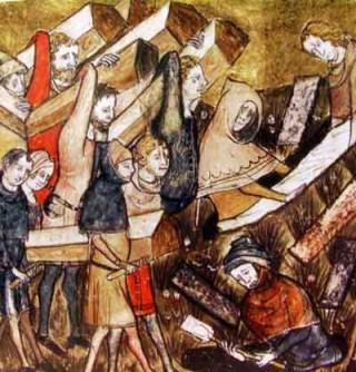 Begrafenis van pestslachtoffers te Doornik. (Kroniek van Gilles Li Muisis (1272-1352))