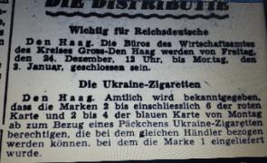 Een bericht uit 1943, Deutsche Zeitung in den Niederlanden