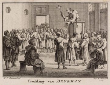 Prediking van Jan Brugman, ets door Barent de Bakker naar een tekening van Hermanus Petrus Schouten (1782)