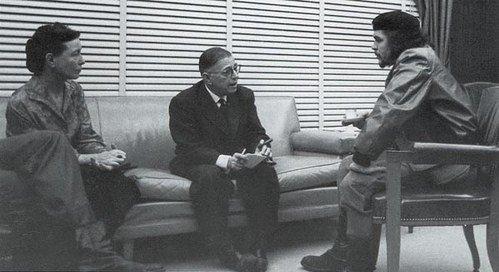 Ontmoeting van Simone de Beauvoir, Jean-Paul Sartre en Che Guevara op Cuba in 1960 - cc