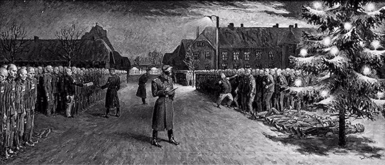 Kerstavond in Auschwitz, getekend door oud-gevangene Władysław Siwek. Dode gevangenen liggen onder de kerstboom. (Staatsmuseum Auschwitz-Birkenau)