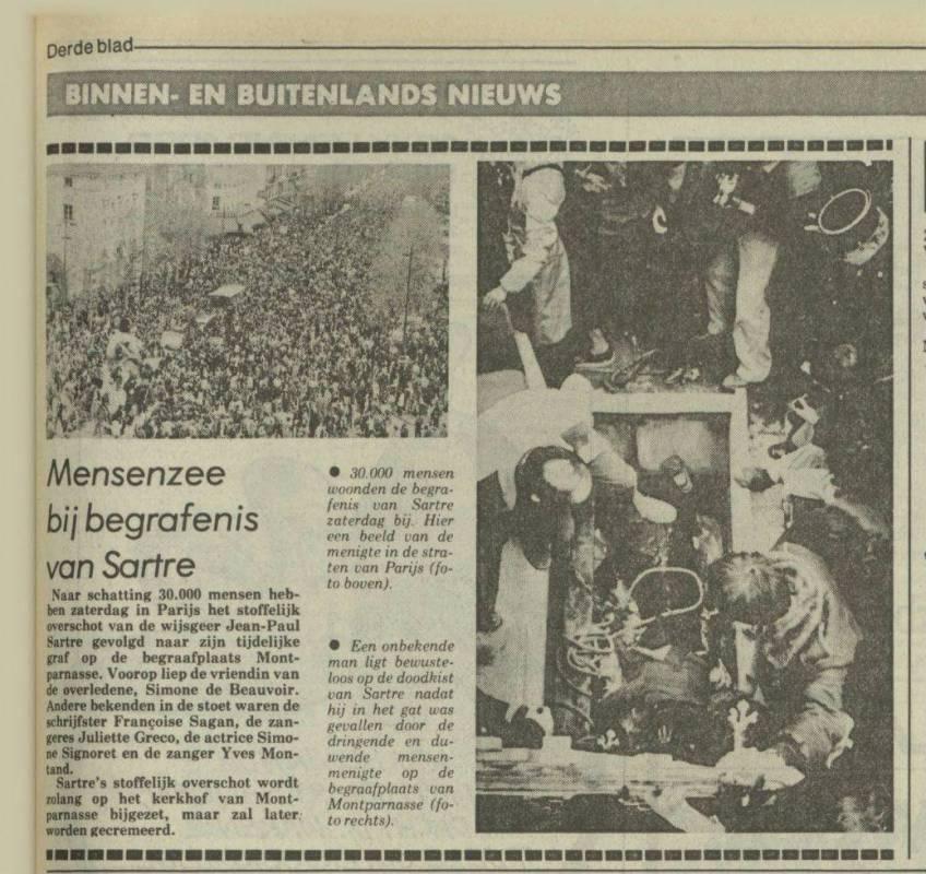 Krantenbericht over de begrafenis van Jean-Paul Sartre (Nieuwsblad van het Noorden, 21 april 1980 - Delpher)