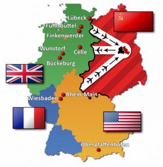 De bezettingszones in Duitsland 1945-1949 en de corridors (wiki)