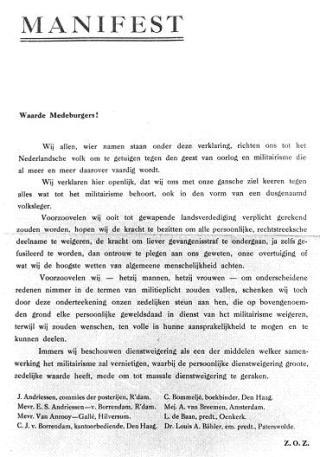 Het Dienstweigeringsmanifest (onvoltooidverleden.nl)