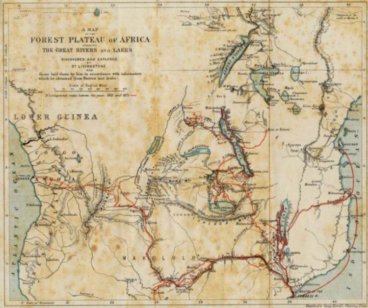 Kaart van de reizen van Livingstone in Afrika tussen 1851 en 1873