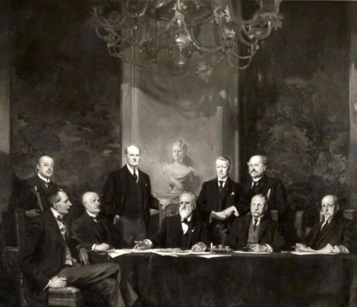 Kabinet Cort van der Linden (1913-1918) - Reproductie van een schilderij van Piet van der Hem
