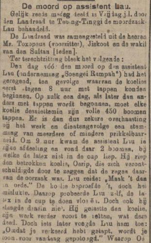 Bericht over de moord in de Sumatra Post (Delpher)