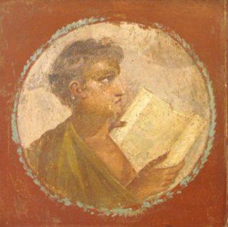 Fresco van een lezende jongeman - cc