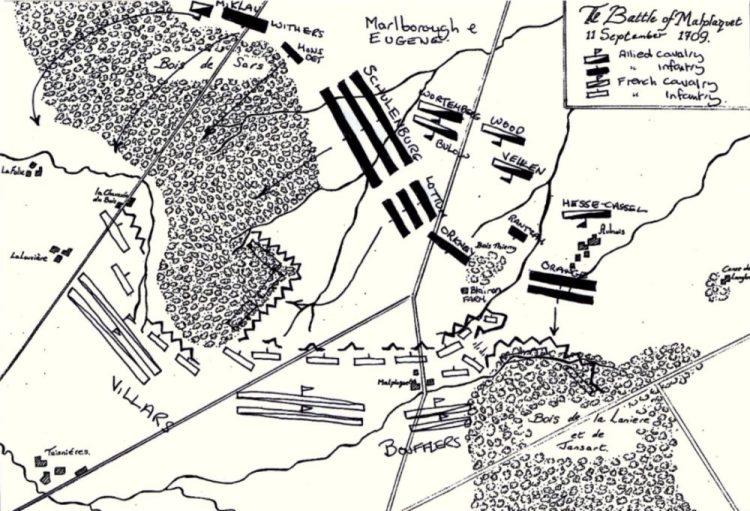 Het slagveld van Malplaquet (Bron: Wikipedia)
