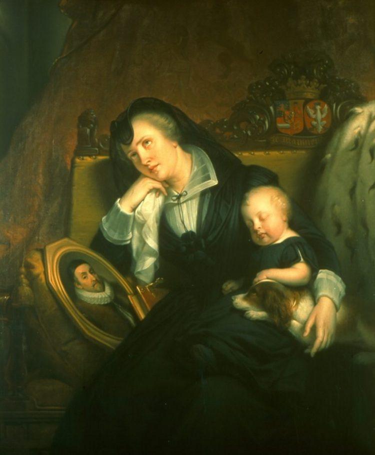 Louise de Coligny, treurend over de dood van haar man, prins Willem van Oranje, met haar zoontje Frederik Hendrik (Paleis Het Loo - Collectie Gelderland)
