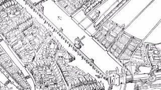 De Haarlemmerpoort met de stadsmuur in 1544 | Vogelvluchtkaart houtsnede Cornelis Anthonisz uit 1544