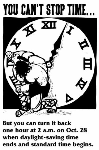 Advertentie uit 2001 om mensen eraan te herinneren dat de klok verzet moet worden - cc