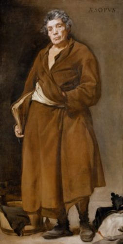 Aesopus verbeeld door Diego Velázquez rond 1640