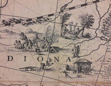 Detail van de wereldkaart Joan Blaeu (Scheepvaartmuseum)