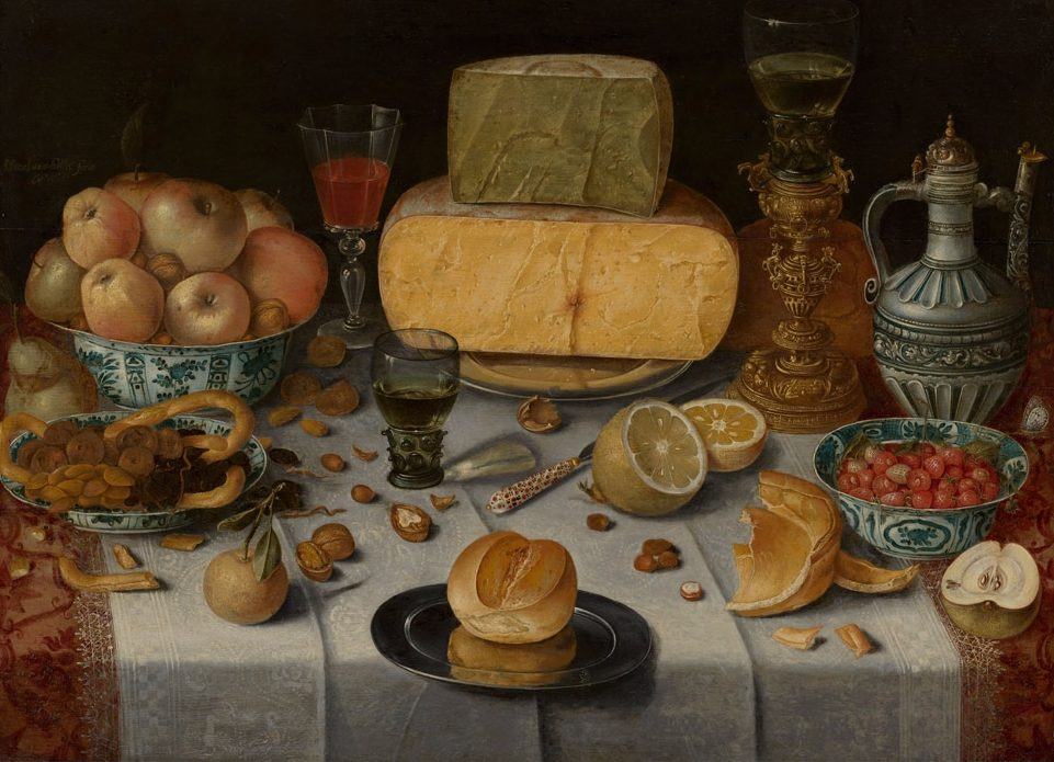 Nicolaes Gillis, Gedekte tafel met kazen, 1612. Particuliere collectie