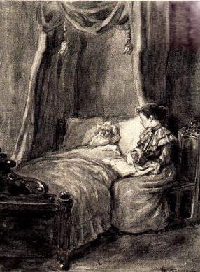 Thirza aan het ziekbed van haar vader, die Jezus vervloekt. Maar later laat hij zich toch voorlezen uit de Bijbel.