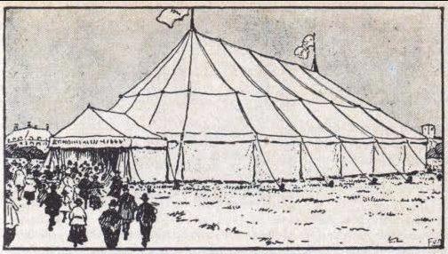 Tekening in De Telegraaf van de zendingstent die in 1906 stond opgesteld voor het Paleis van Volksvlijt in Amsterdam.
