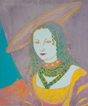 Andy Warhols portret van een jonge vrouw naar Lucas Cranach