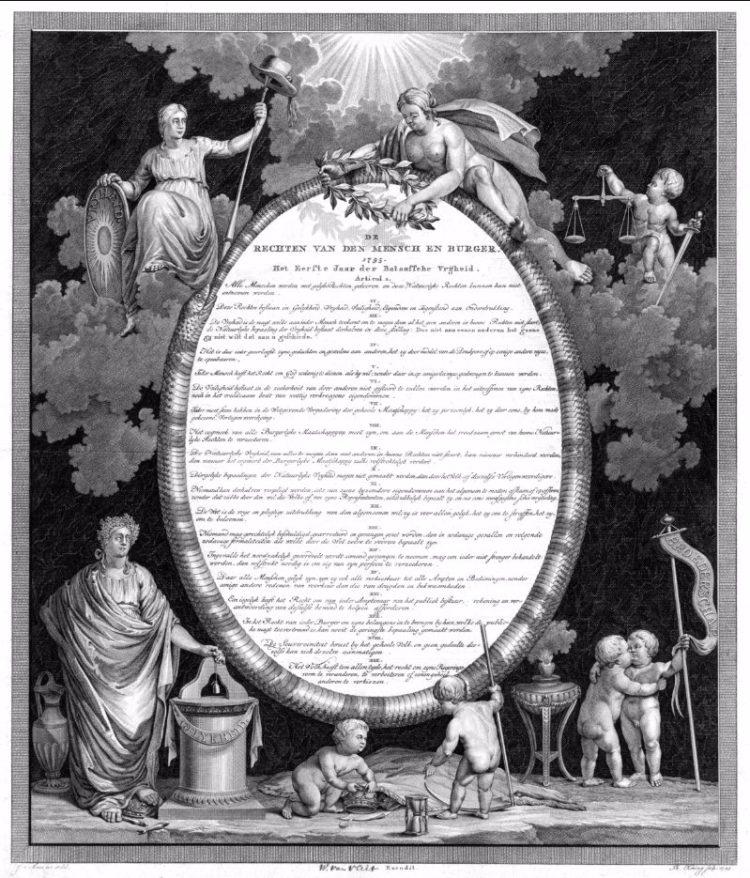 Artistieke weergave van de Rechten van de Mens en de Burger, afgekondigd 31 januari 1795 in Den Haag