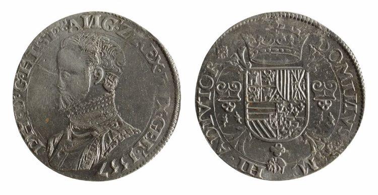 Gevonden Philipsdaalder uit 1557.