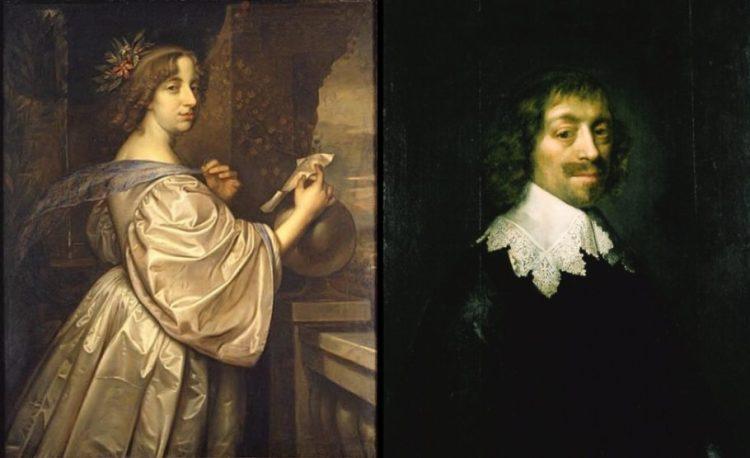 Christina van Zweden, David Beck ca. 1656, Wikimedia Commons en Constantijn Huygens omstreeks 1641, M. van Mierevelt, Huygensmuseum Hofwijck